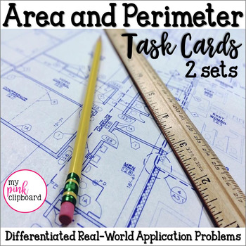 Area & Perimeter Differentiated Word Problems Task Cards (