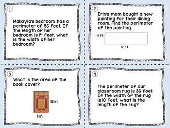 Area and Perimeter Differentiated Word Problems Task Cards (2 Sets) CCSS