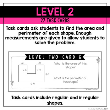 Area and Perimeter Differentiated Task Cards