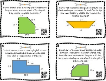 Area and Perimeter Differentiated Word Problems with QR Codes