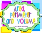 Area , Perimeter, and Volume -  with whole numbers and decimals