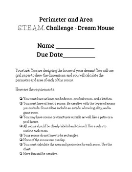 Area and Perimeter Dream House STEAM Challenge Project
