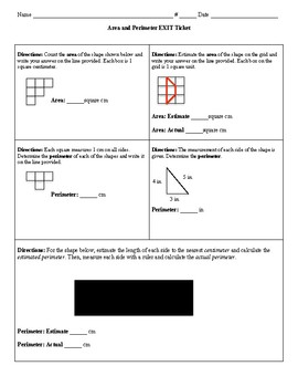 Area and Perimeter EXIT Ticket