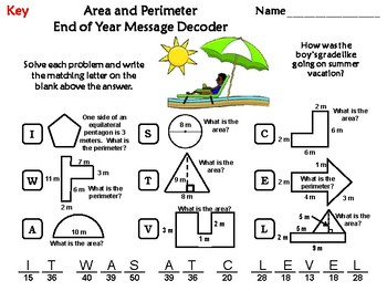 Area and Perimeter End of Year Math Activity: Message Decoder