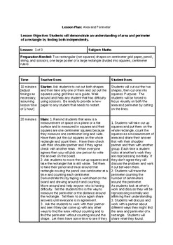 Area and Perimeter Exemplar Lesson Plan