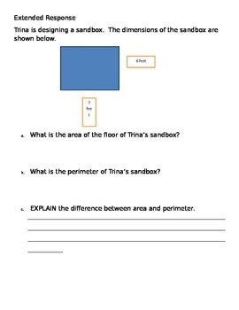 Area and Perimeter Extended Response