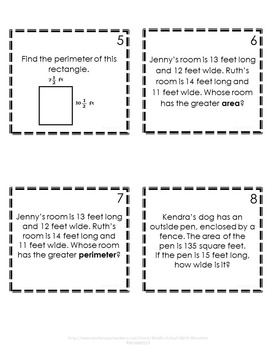 Area and Perimeter Task Cards - Footloose Math Game