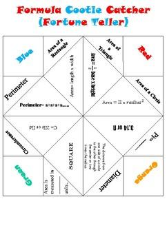 Area and Perimeter Formula Cootie Catcher (Fortune Teller)