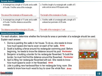 Area and Perimeter Formulas for Rectangles
