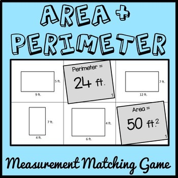 Area and Perimeter Game, 4th Grade Measurement Game, 4.MD.A.3, 10 versions!