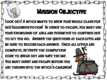 Area and Perimeter Game: Geometry Escape Room Halloween Math Activity