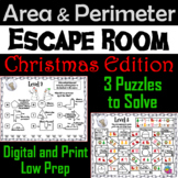 Area and Perimeter Game: Geometry Escape Room Christmas Math Activity