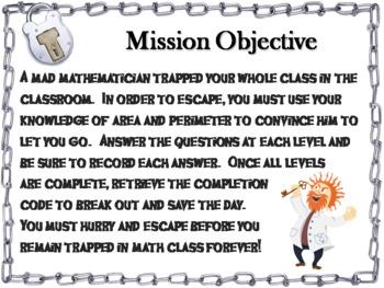 Area and Perimeter Game: Geometry Escape Room - Math