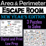 Area and Perimeter Game: Geometry Escape Room New Year's Math Activity