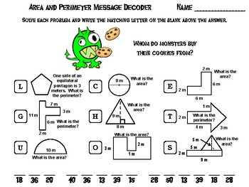 Area and Perimeter Game: Halloween Math Activity Message Decoder