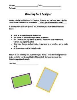Area and Perimeter Greeting Card Designer Performance Assessment