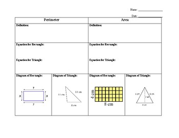 Area and Perimeter Guided Notes