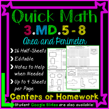 Area and Perimeter Homework  or Area and Perimeter Math Ce