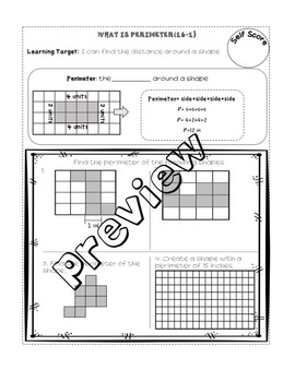 Area and Perimeter (enVision Topic 16) Interactive Notebook