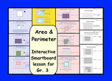 Area and Perimeter:  Interactive Smartboard Lesson for Gr 3 with Printables