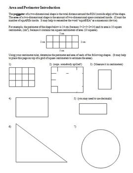 Area and Perimeter Introduction (Editable)