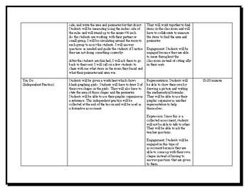 Area and Perimeter Lesson Plan