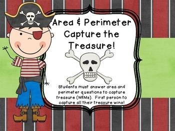 Common Core Area and Perimeter M&M Pirate Test Prep Game 3rd 4th grade