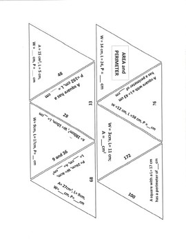 Area and Perimeter MS/HS Game Puzzle with Worksheet