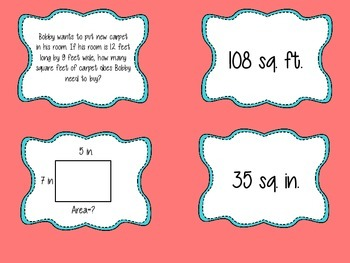 Area and Perimeter Matching Activity Cards