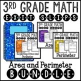 Area and Perimeter Math Exit Slips 3rd Grade Common Core Bundle