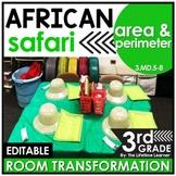 Area and Perimeter Math Game - African Safari Real World Math Activity