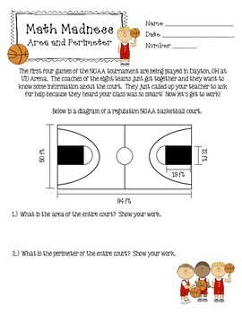 Area and Perimeter (Math Madness/March Madness)