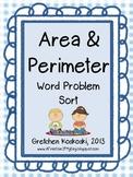 Area and Perimeter Math Word Problem Sort
