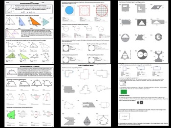 Area and Perimeter Middle Grades Math 20 Page Packet