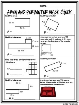 Area and Perimeter Mix n' Mingle Review Activity *Individual Worksheet Included*