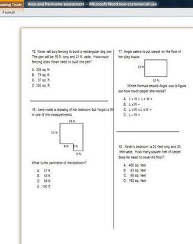 Area and Perimeter: Multiple Choice: Common Core Aligned