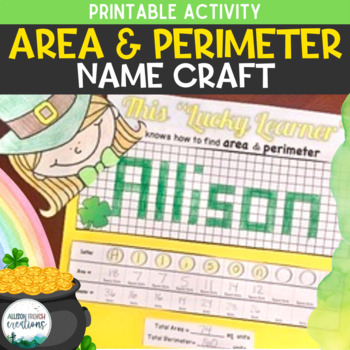 Area and Perimeter Name Craft Activity St. Patrick's Day