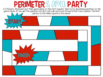 Area and Perimeter Party Game and Task Cards