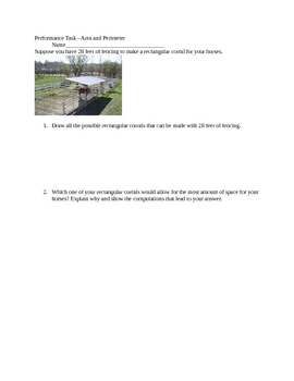 Area and Perimeter Performance Task