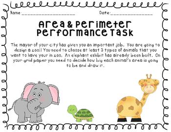 Area and Perimeter Math Performance Task Zoo