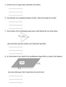 Area and Perimeter Polygons TEST Plug in Formulas Word Problems and Computation
