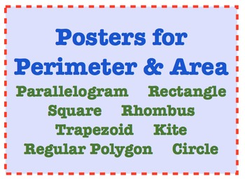 Area and Perimeter Posters Word Wall Flashcards Interactive Notebook