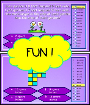 Area and Perimeter Power Point Millionaire Game for 3rd Grade