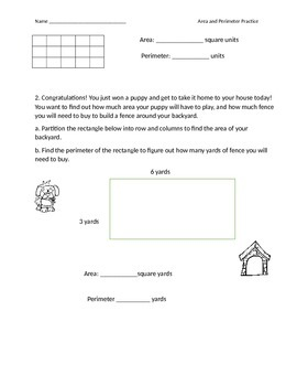 Area and Perimeter Practice and Exit Ticket