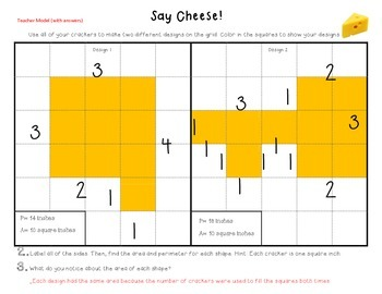 Area and Perimeter Practice with Cheese Crackers