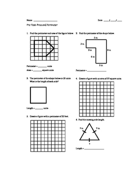 Area and Perimeter: Pre and Post Assessments