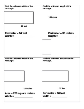 Area and Perimeter Problem Solving (Common Core, 4th Grade)