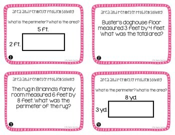 Area and Perimeter Problem Solving Task Cards for 4th Grade