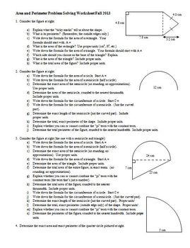 Area and Perimeter Problem Solving Worksheet Fall 2013