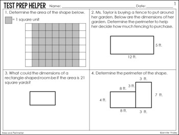 Area and Perimeter Problems {4th Grade Common Core Test Prep Helper}
